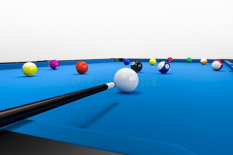 Clean Pool Billard Table. A non visible Player is aiming over his pool queue to put a ball into the billard pocket. The Pool table stands on a floor with a clean stock illustration