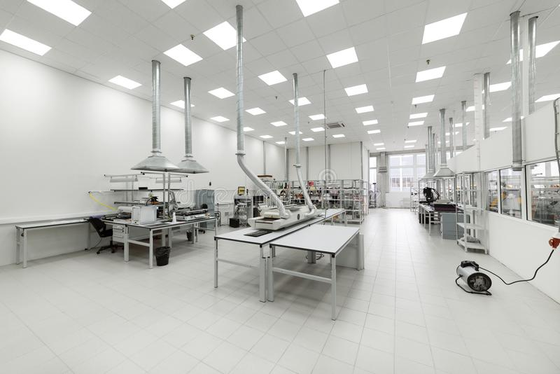 Clean production room. Manufacture of industrial electronics. royalty free stock image