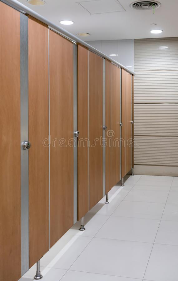 Clean public toilet room empty. restroom interior. royalty free stock photography