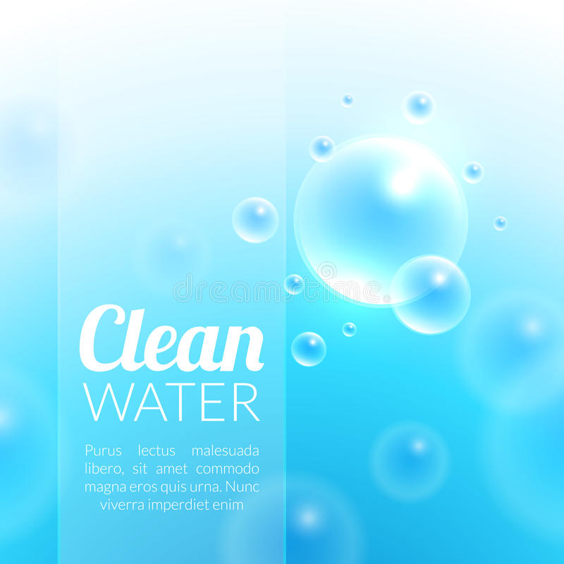 Clean Purified Water Vector Background. Transparent floating up bubbles freshness background. Blurred summer wallpaper with shining bubbles royalty free illustration