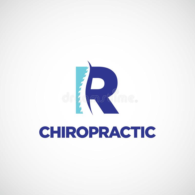 Clean R initial Letter Chiropractic Logo. Design Template Sign Symbol Icon vector illustration