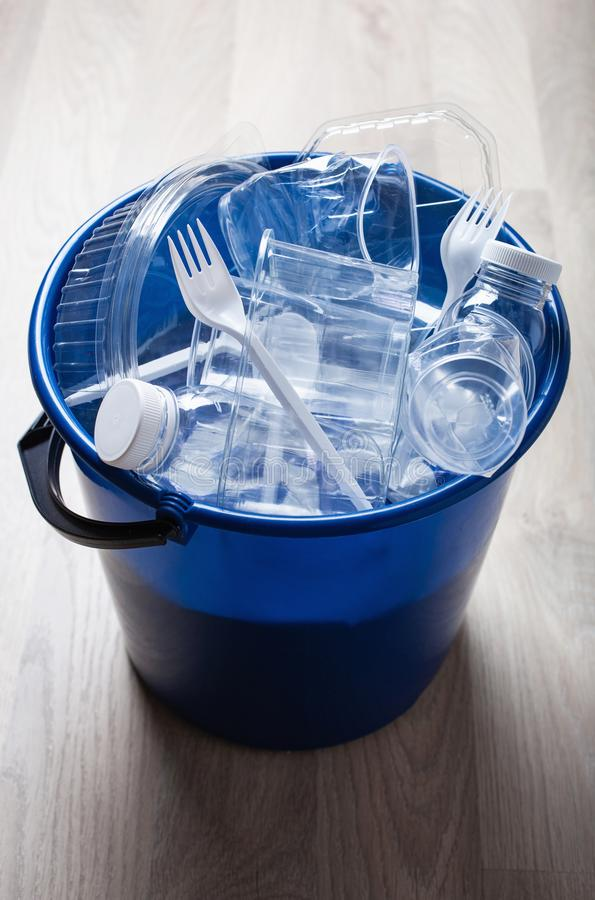 Clean recyclable plastic bottles, containers, cups in garbage bin. waste management plastic reuse royalty free stock photo