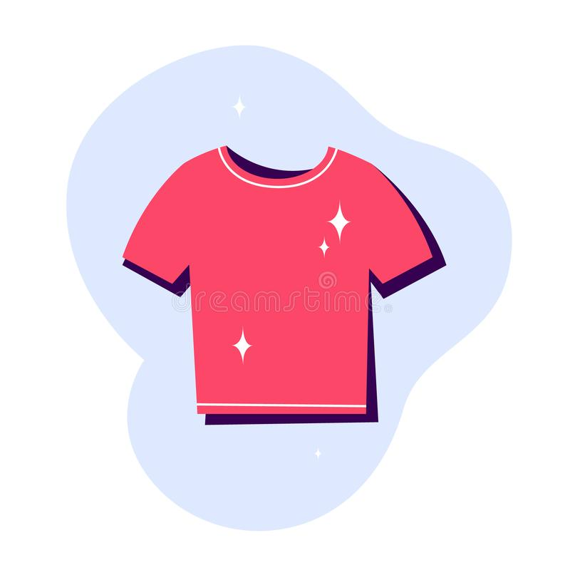 Clean red t-shirt icon. Clothing symbol. Fashion apparel stock illustration