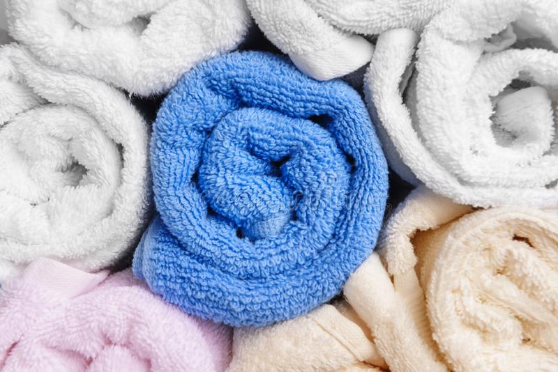 Clean rolled towels, closeup stock photo