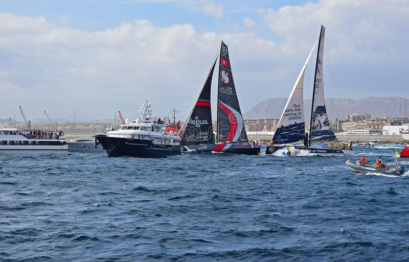 Clean Seas And Scallywag Sailing Very Close Between Spectator Boats Volvo Ocean Race Alicante 2017 stock photos