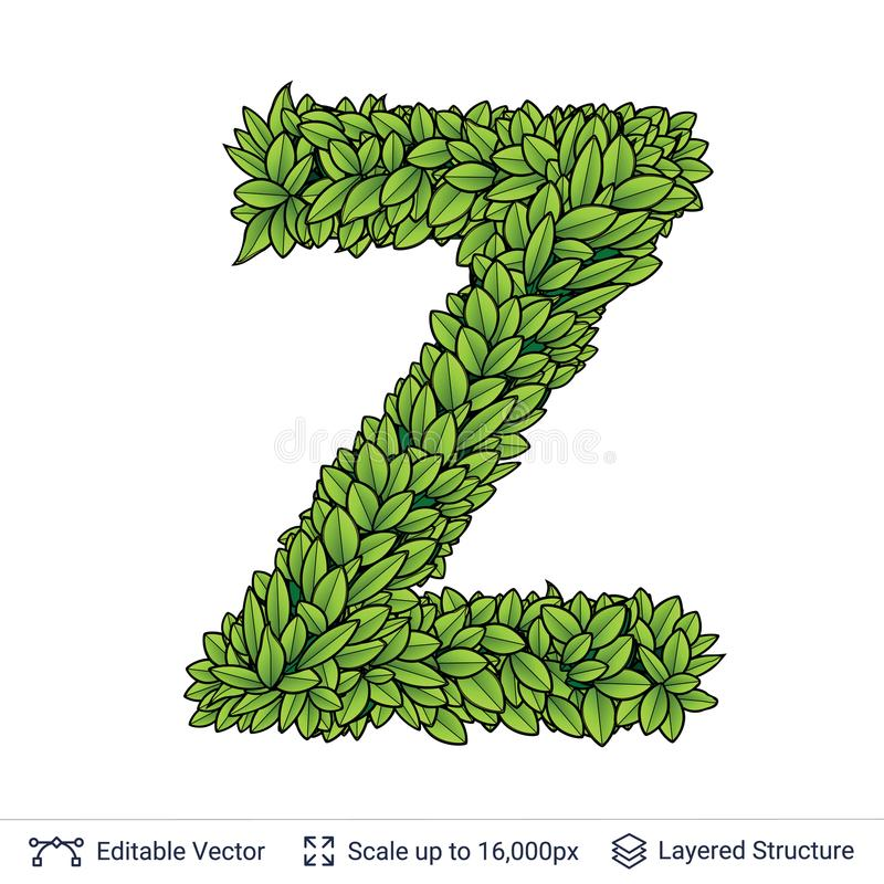 Letter Z Symbol Of Green Leaves Stock Vector Illustration Of Font