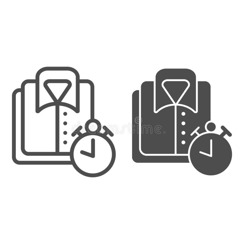 Clean shirt line and glyph icon. Folded shirt and clock vector illustration isolated on white. Clean apparel outline stock illustration