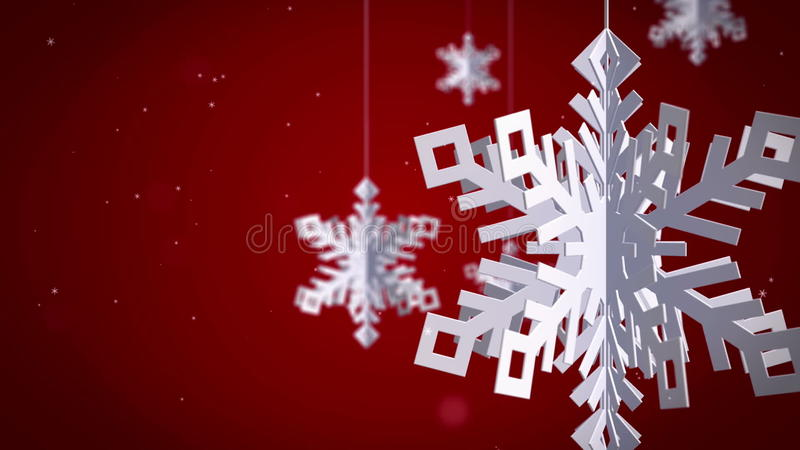 Clean Snowflakes 3d On Red Background