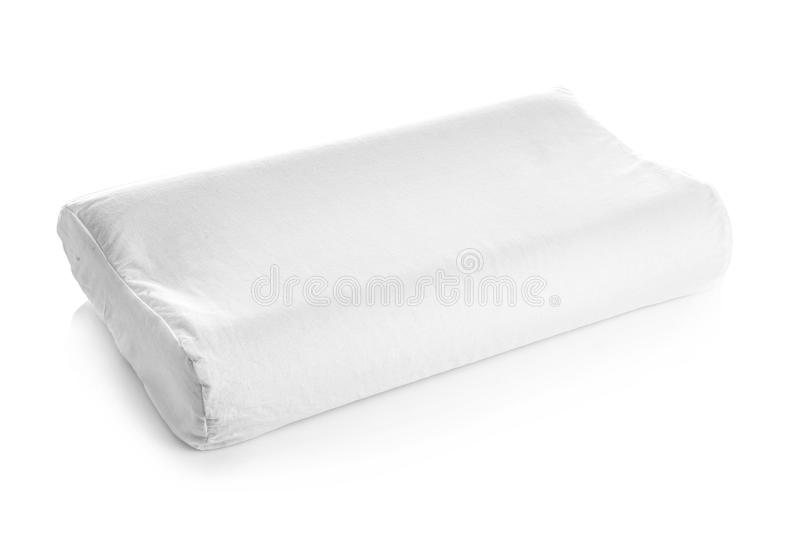 Clean soft orthopedic pillow. On white background stock photos