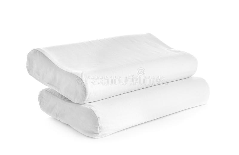 Clean soft orthopedic pillows. On white background stock image