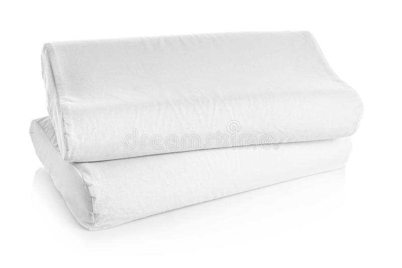 Clean soft orthopedic pillows. On white background royalty free stock images