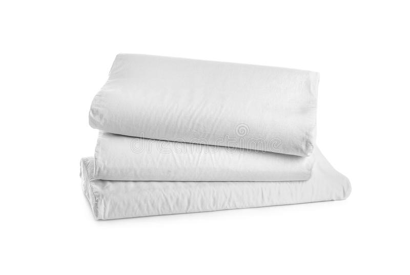 Clean soft orthopedic pillows. On white background stock photos