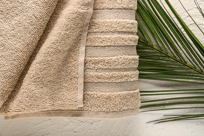 Clean soft towel and palm leaf on white background stock image