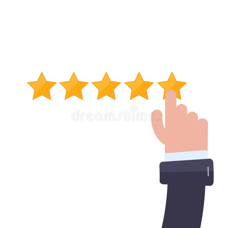 Clean 5 star rating with hand. Modern flat Vector illustration royalty free illustration