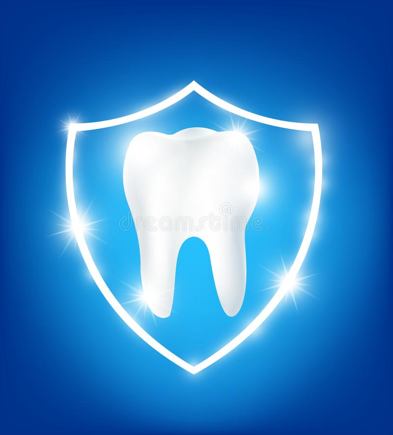 Clean and strong white tooth in protection shield vector illustration