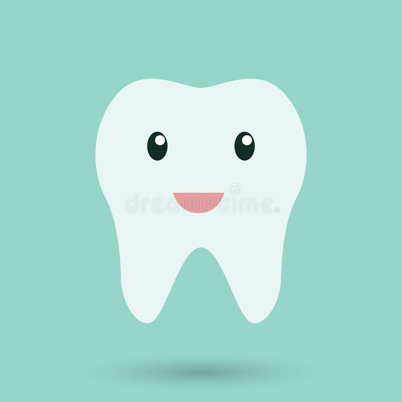 Clean Teeth on blue background icon.  royalty free illustration