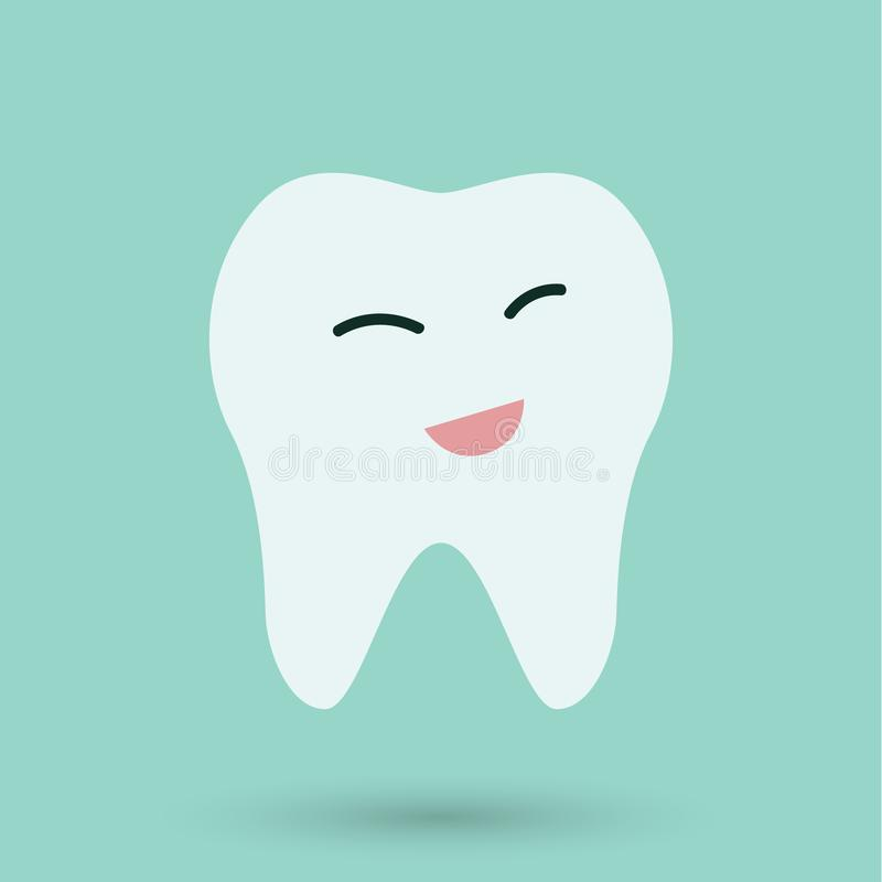 Clean Teeth on blue background icon.  stock illustration