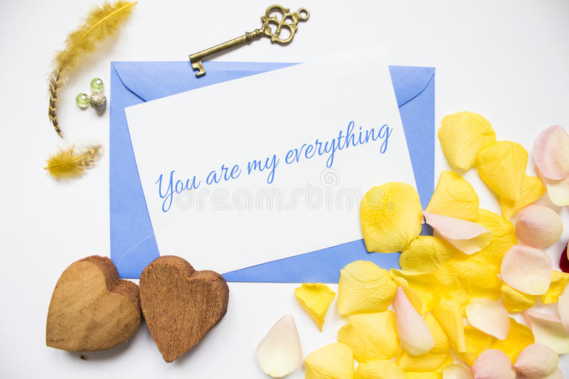 Clean template with a love declaration stock photos