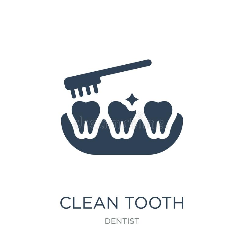 Clean tooth icon in trendy design style. clean tooth icon isolated on white background. clean tooth vector icon simple and modern. Flat symbol for web site royalty free illustration
