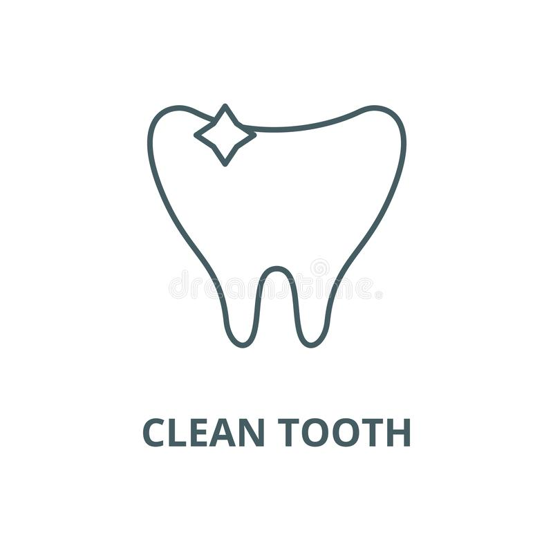 Clean tooth line icon, vector. Clean tooth outline sign, concept symbol, flat illustration. Clean tooth line icon, vector. Clean tooth outline sign, concept royalty free illustration