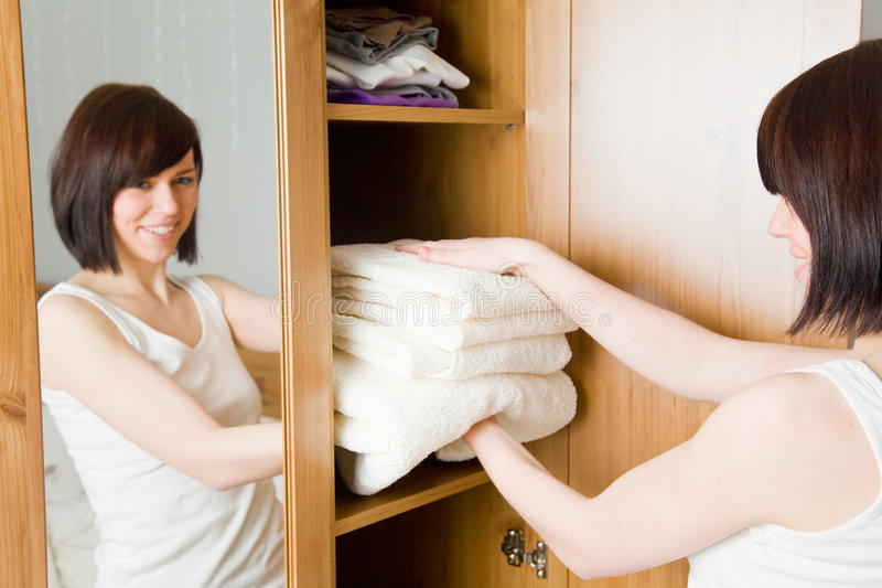 Download Clean towels stock image. Image of cabinet, systematic - 9285233