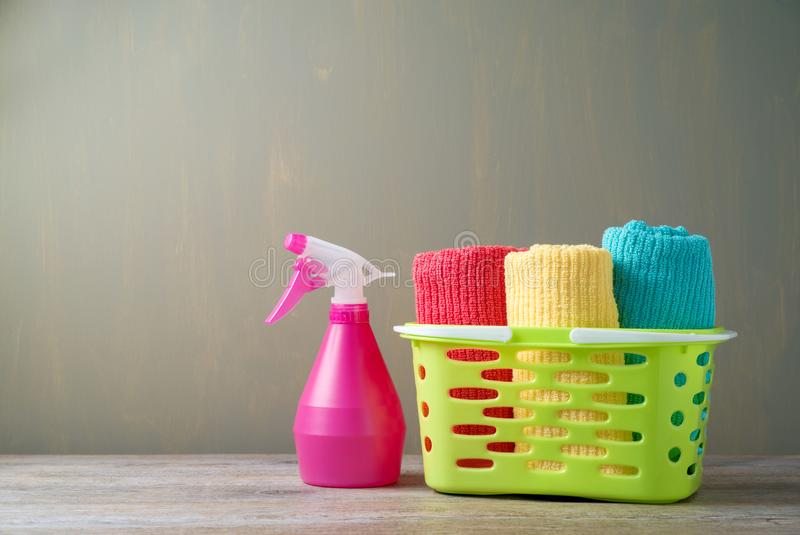 Clean towels in basket stock photo