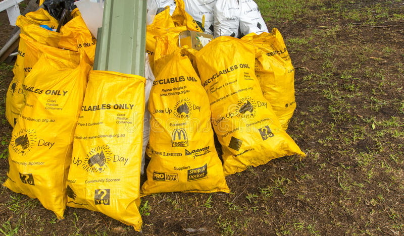 Clean Up Day sacks stock photo