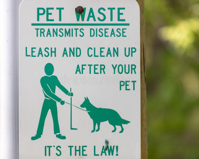 Clean Up Pet Waste Sign stock images