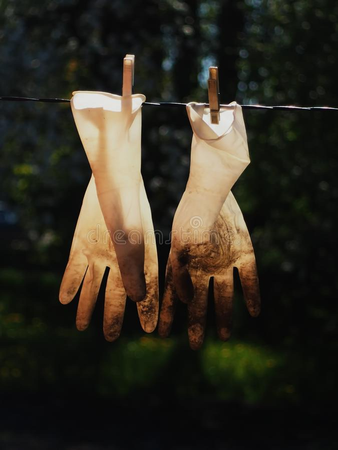 Operation clean hands gardening gloves stock photography