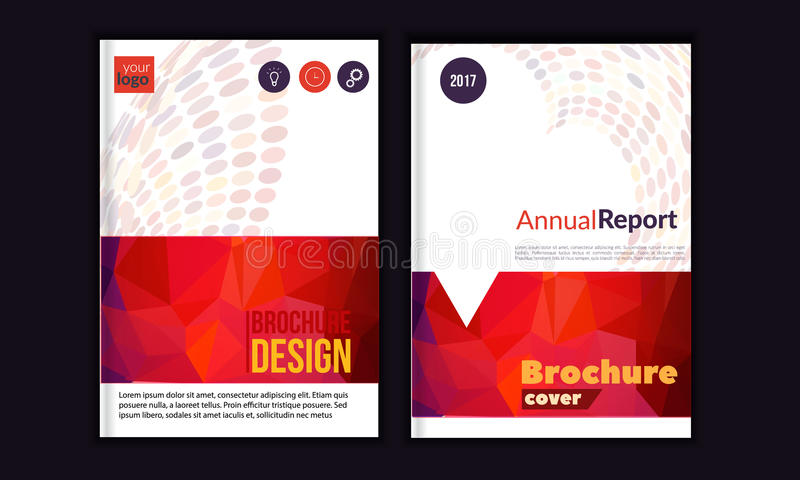 Clean Vector annual report. Brochure template, book cover layout design, Abstract triangle red presentation templates royalty free illustration