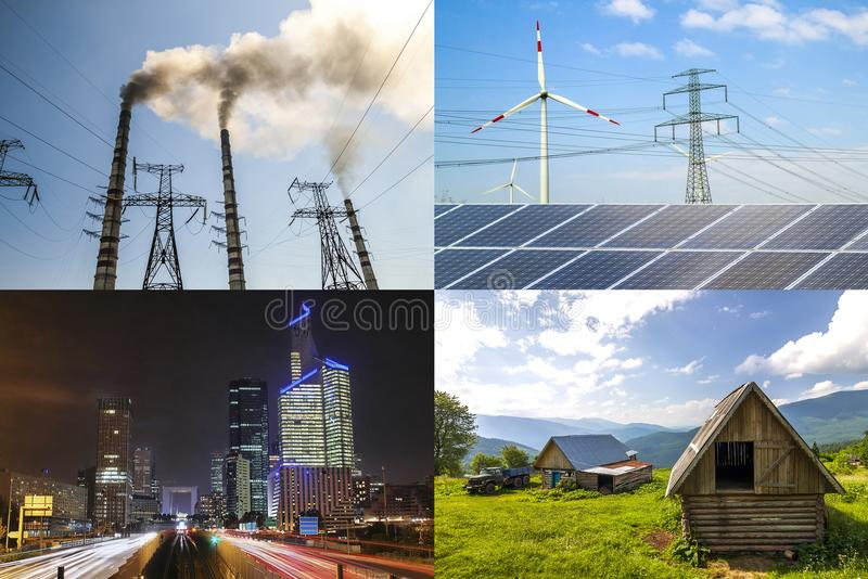 Clean vs dirty energy. Solar panels and wind turbines against fuel coal power plant. Sustainable development and renewable stock photos