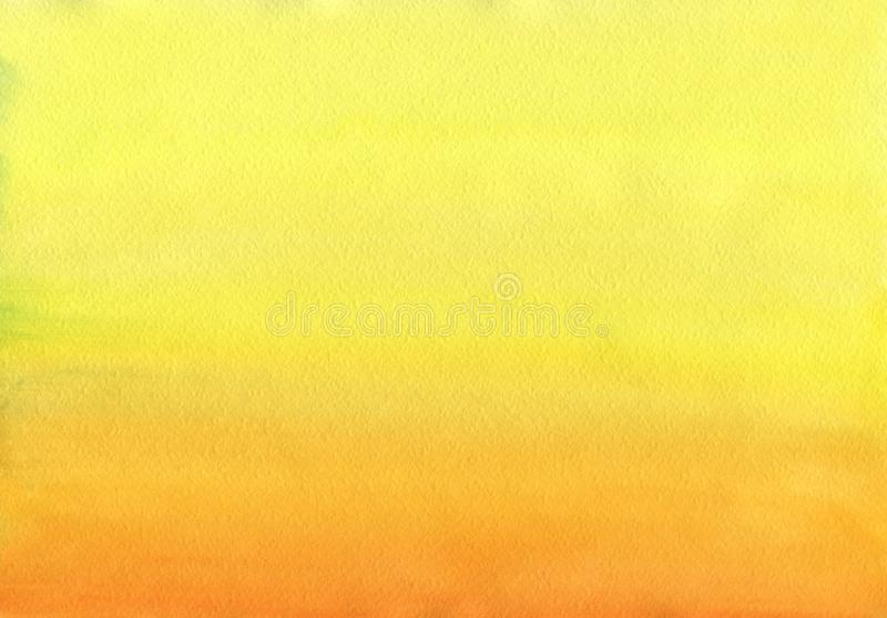 Clean Warm Watercolor Background uniform gradient. Mixing of Cadmium Yellow, Orange and Titian Red royalty free illustration