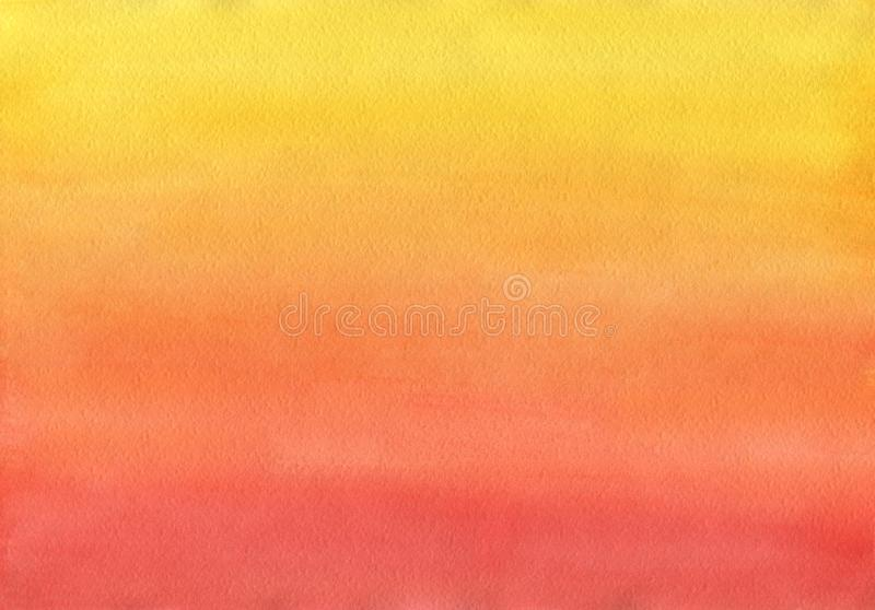 Clean Warm Watercolor Background uniform gradient. Mixing of Yellow Cadmium, Orange, Red and Ruby royalty free illustration
