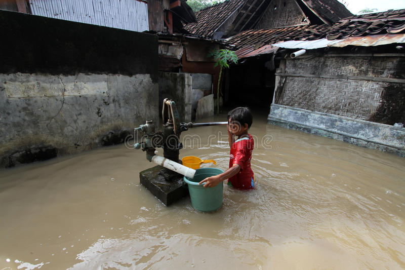 Clean water. A children looking for a clean water the time of floods in Solo royalty free stock image