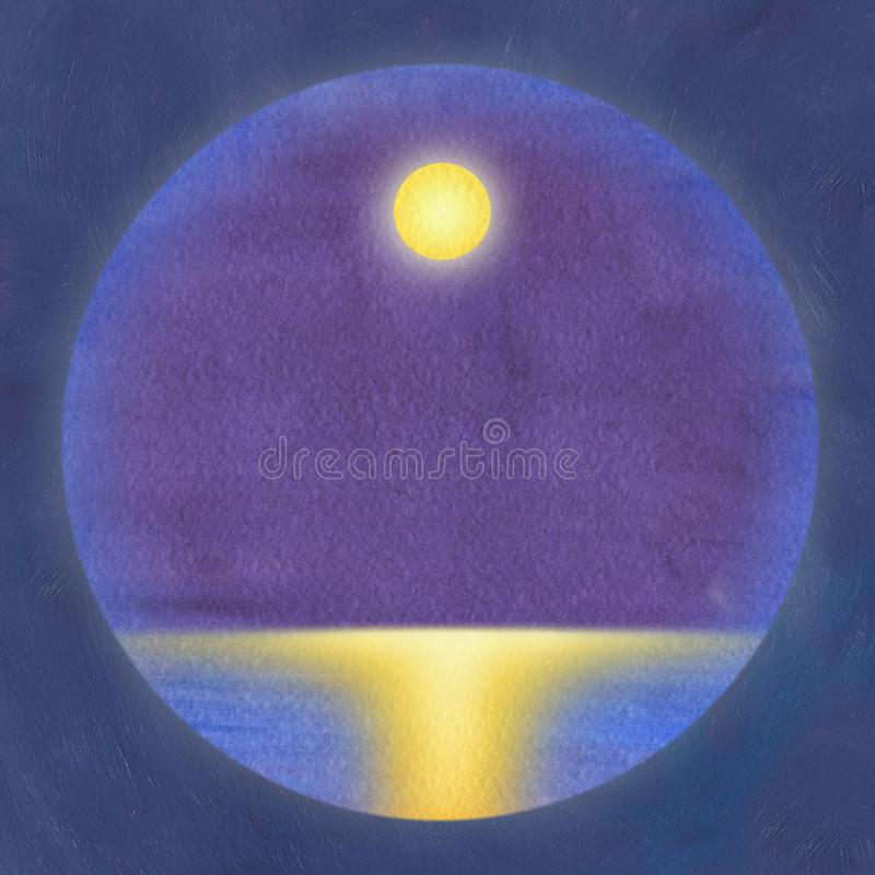 Clean watercolor background framed by oil painting. A seascape with a full moon and a lunar path on the water stock illustration
