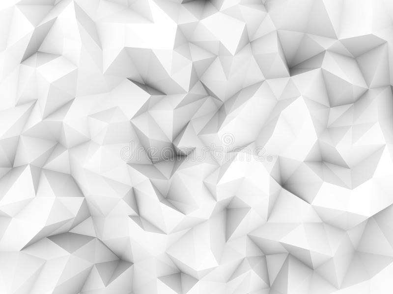 Clean white low polygon background from 3d rendering.  royalty free illustration