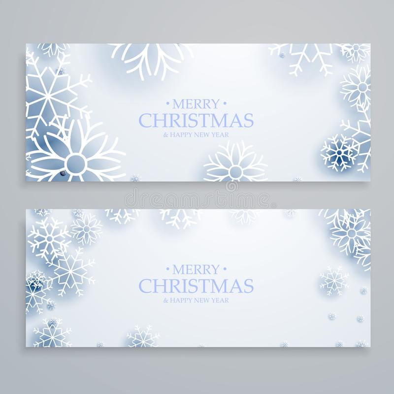 Clean white merry christmas banners set with snowflakes vector illustration