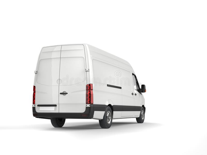 Clean white modern delivery van - back view. Isolated on white background vector illustration