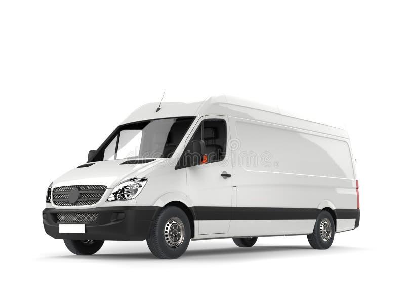 Clean white modern delivery van stock illustration