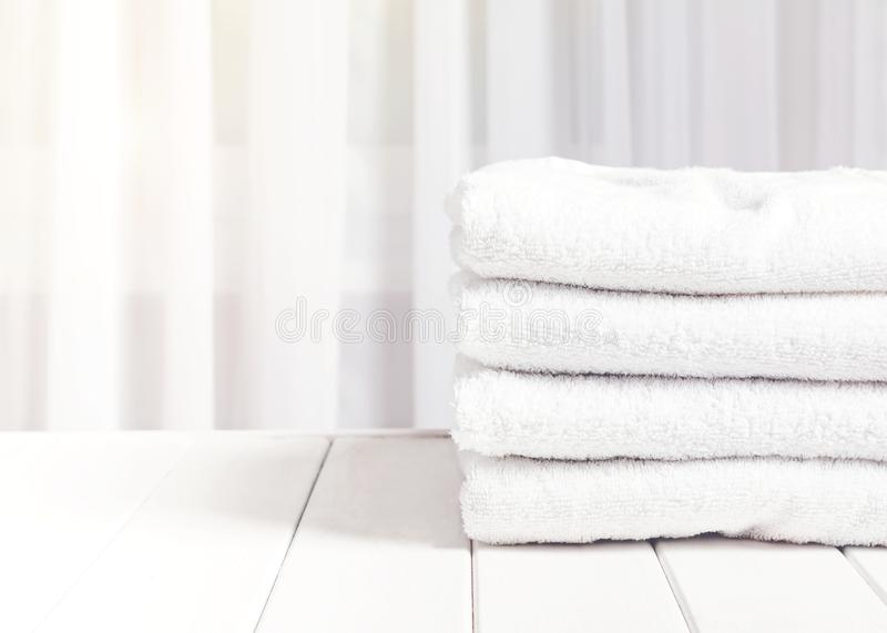 Clean white towels in stack stock image