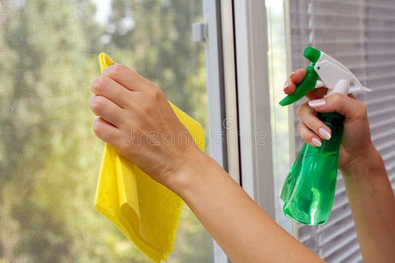 Clean the window stock image