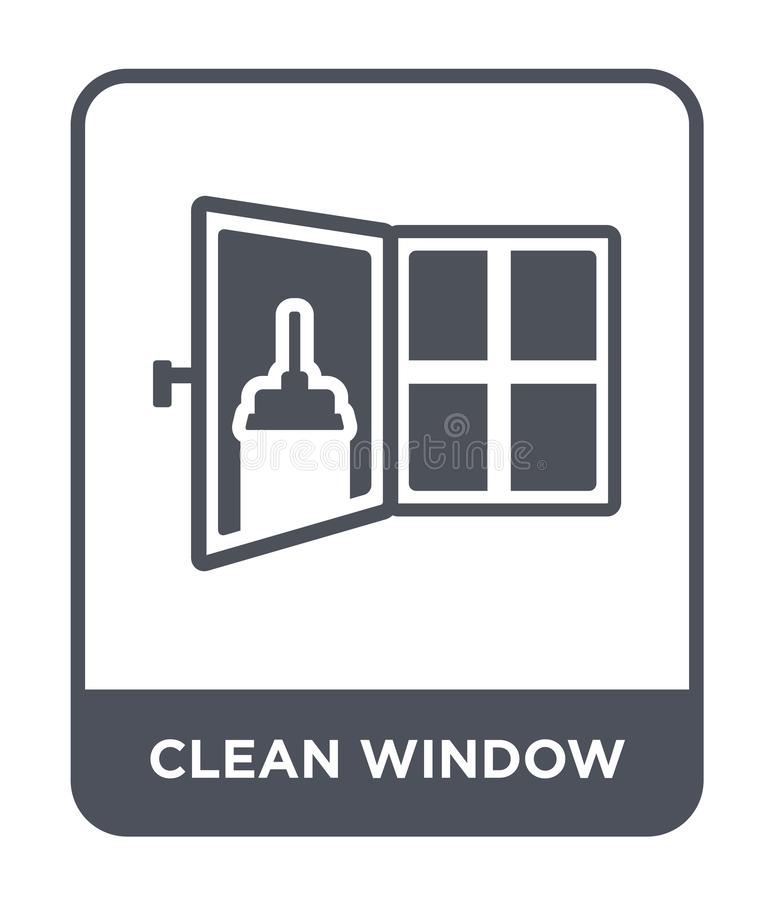 Clean window icon in trendy design style. clean window icon isolated on white background. clean window vector icon simple and. Modern flat symbol for web site stock illustration
