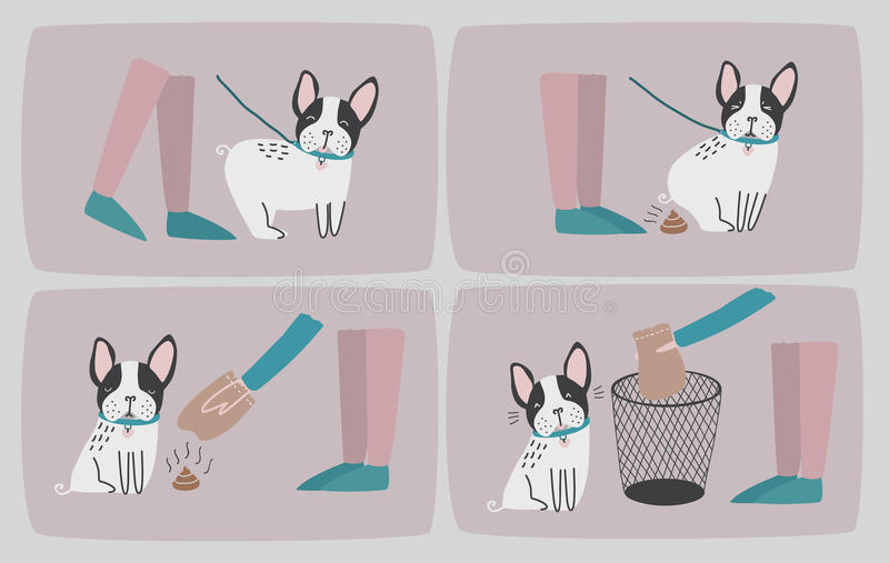 Clean after your dog. Set of consecutive cartoon images with puppy and his owner cleaning up him shit. Vector colorful. Illustration in flat style stock illustration