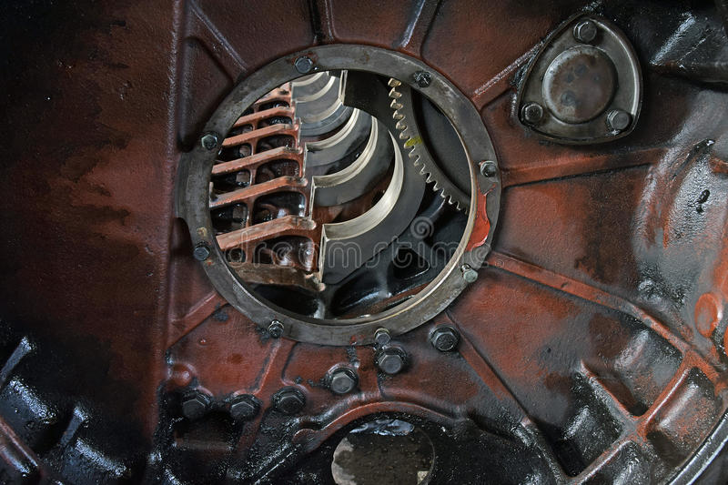 The cleaned engine for truck royalty free stock photo