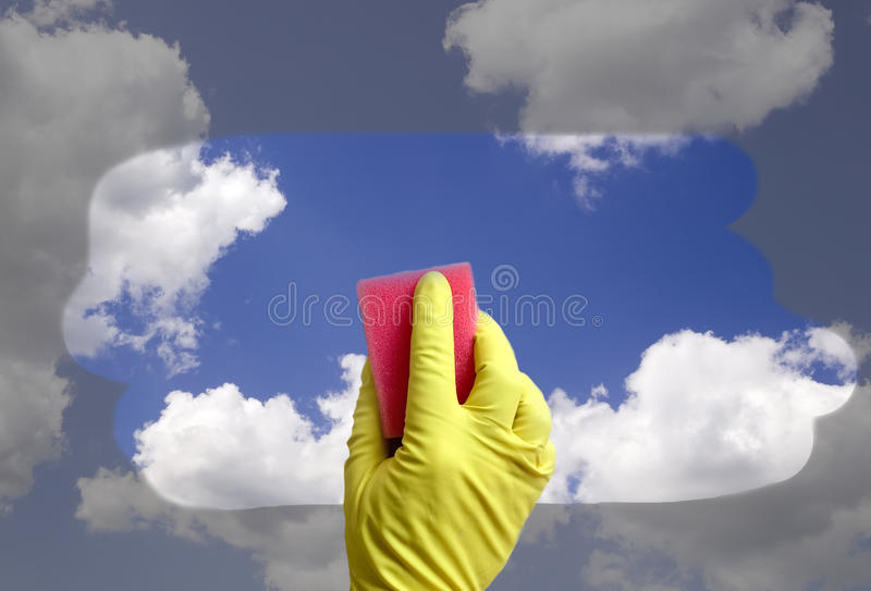 Cleaner is cleaning window stock image