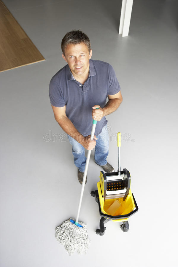 Download Cleaner Mopping Office Floor Stock Image - Image: 10971289