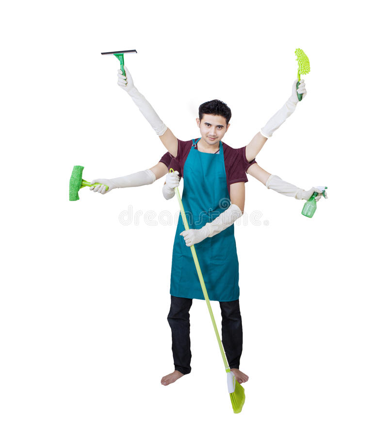 Download Cleaner With Multi Hands - Isolated Stock Photo - Image: 33956312