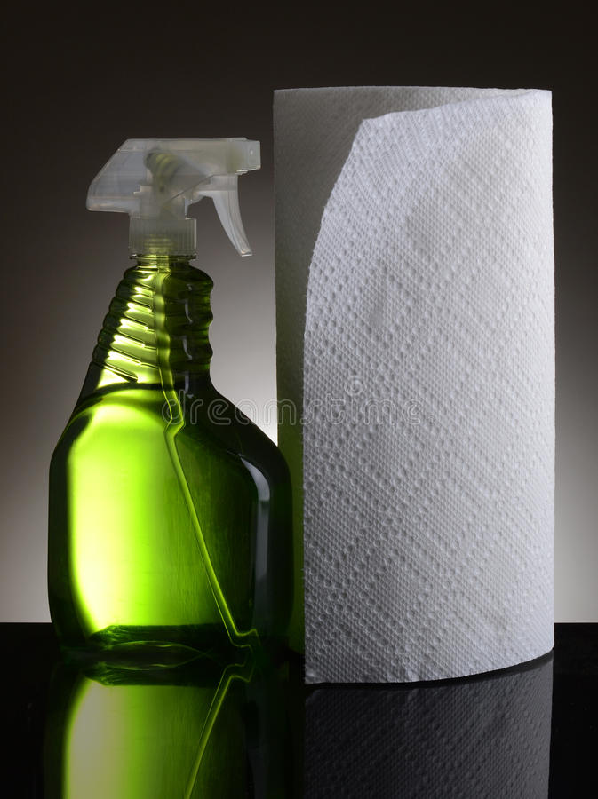 Cleaner and Paper Towels stock photo