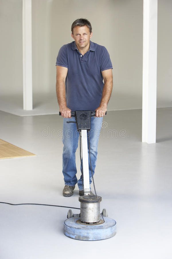 Cleaner Polishing Office Floor Stock Image