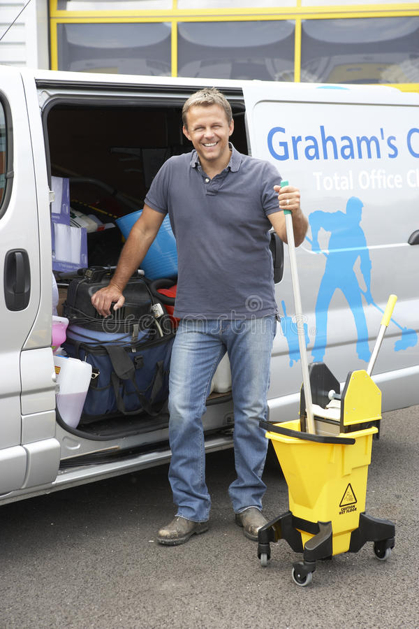 Cleaner Standing Next To Van Stock Images
